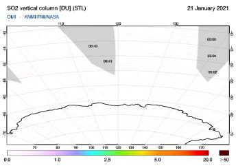 OMI - SO2 vertical column of 21 January 2021