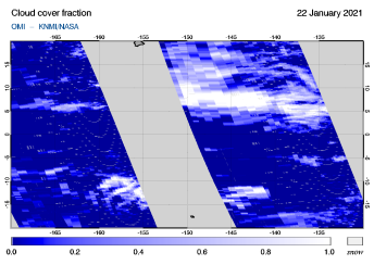 OMI - Cloud cover fraction of 22 January 2021