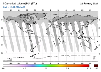 OMI - SO2 vertical column of 22 January 2021