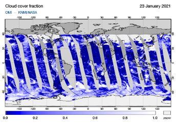 OMI - Cloud cover fraction of 23 January 2021