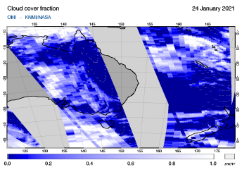 OMI - Cloud cover fraction of 24 January 2021