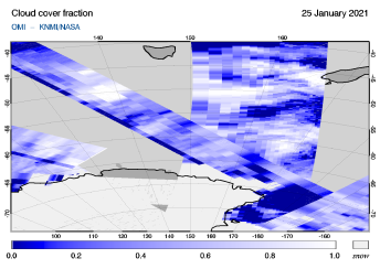 OMI - Cloud cover fraction of 25 January 2021