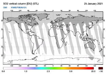 OMI - SO2 vertical column of 25 January 2021