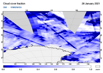 OMI - Cloud cover fraction of 26 January 2021