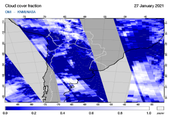 OMI - Cloud cover fraction of 27 January 2021