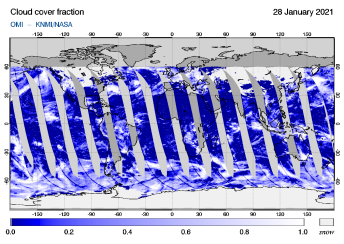 OMI - Cloud cover fraction of 28 January 2021