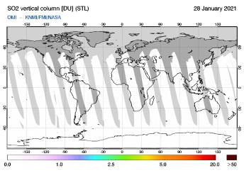 OMI - SO2 vertical column of 28 January 2021