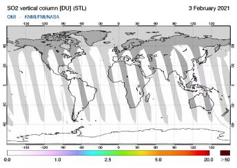 OMI - SO2 vertical column of 03 February 2021