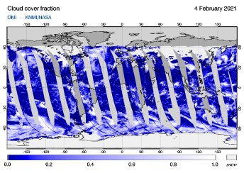 OMI - Cloud cover fraction of 04 February 2021