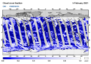 OMI - Cloud cover fraction of 05 February 2021