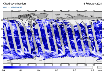 OMI - Cloud cover fraction of 06 February 2021