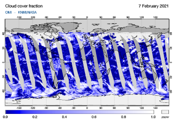 OMI - Cloud cover fraction of 07 February 2021
