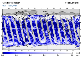 OMI - Cloud cover fraction of 08 February 2021