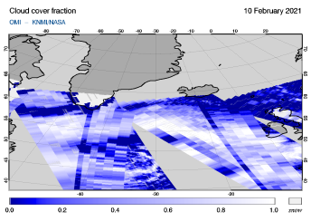 OMI - Cloud cover fraction of 10 February 2021