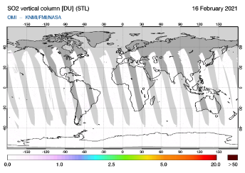 OMI - SO2 vertical column of 16 February 2021