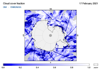 OMI - Cloud cover fraction of 17 February 2021