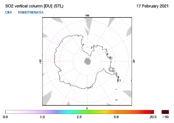 OMI - SO2 vertical column of 17 February 2021