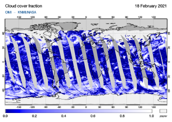 OMI - Cloud cover fraction of 18 February 2021