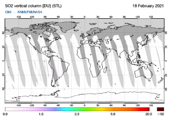 OMI - SO2 vertical column of 18 February 2021