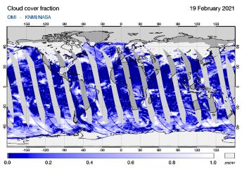 OMI - Cloud cover fraction of 19 February 2021