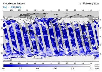 OMI - Cloud cover fraction of 21 February 2021