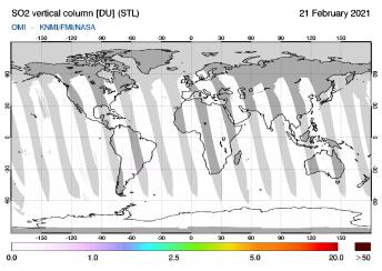OMI - SO2 vertical column of 21 February 2021