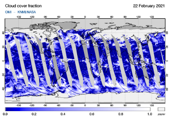 OMI - Cloud cover fraction of 22 February 2021