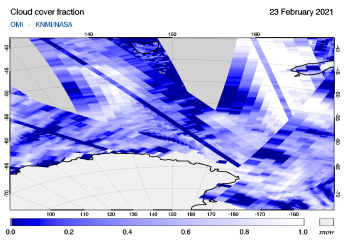 OMI - Cloud cover fraction of 23 February 2021