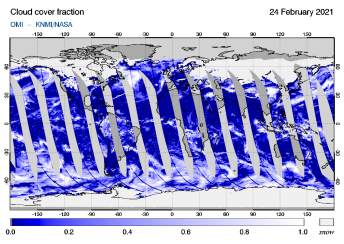 OMI - Cloud cover fraction of 24 February 2021