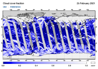 OMI - Cloud cover fraction of 25 February 2021