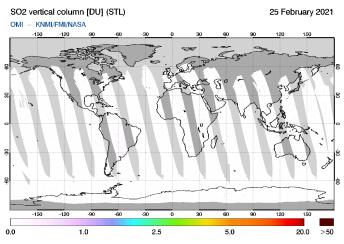 OMI - SO2 vertical column of 25 February 2021