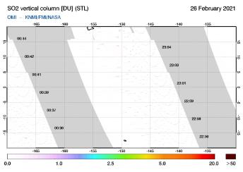 OMI - SO2 vertical column of 26 February 2021