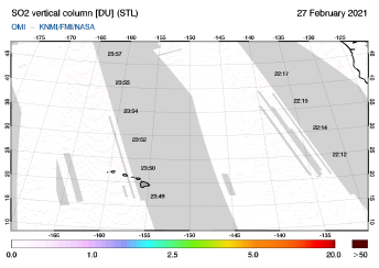 OMI - SO2 vertical column of 27 February 2021