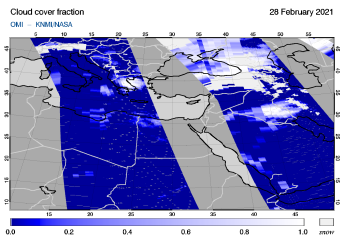 OMI - Cloud cover fraction of 28 February 2021