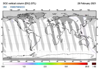 OMI - SO2 vertical column of 28 February 2021