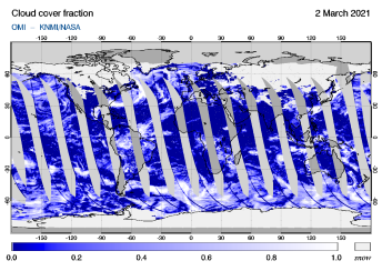 OMI - Cloud cover fraction of 02 March 2021