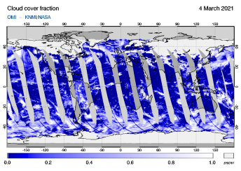 OMI - Cloud cover fraction of 04 March 2021