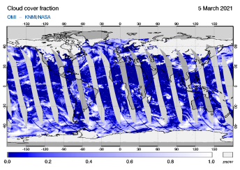 OMI - Cloud cover fraction of 05 March 2021