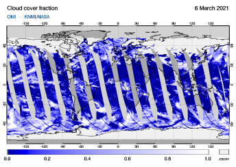OMI - Cloud cover fraction of 06 March 2021