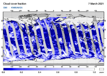 OMI - Cloud cover fraction of 07 March 2021
