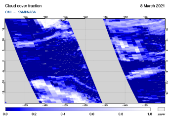 OMI - Cloud cover fraction of 08 March 2021