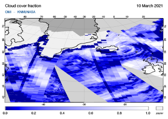 OMI - Cloud cover fraction of 10 March 2021