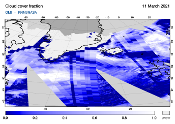 OMI - Cloud cover fraction of 11 March 2021