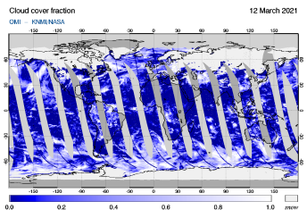 OMI - Cloud cover fraction of 12 March 2021