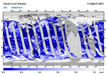 OMI - Cloud cover fraction of 14 March 2021