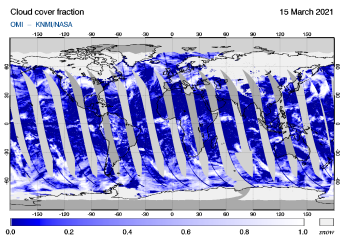 OMI - Cloud cover fraction of 15 March 2021