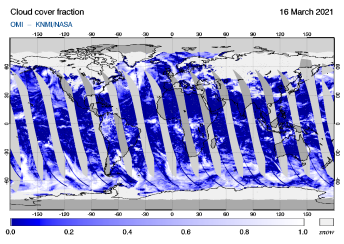 OMI - Cloud cover fraction of 16 March 2021