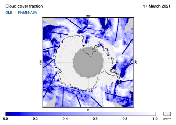 OMI - Cloud cover fraction of 17 March 2021