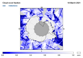 OMI - Cloud cover fraction of 18 March 2021
