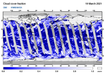 OMI - Cloud cover fraction of 19 March 2021